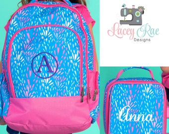 Girls Sparktacular Personalized Backpack, Lunchbox, and pencil pouch, preschool backpack, School Age Backpack, Monogrammed blue and pink