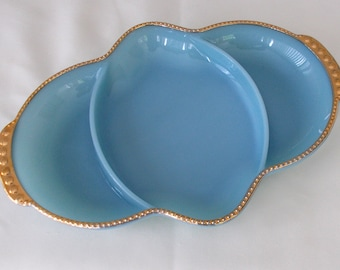 Fire King Relish Dish, Delphite Blue With Gold Trim