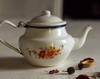 Teapot coffee pot enamel teapot coffee pot Vintage 1960's White teapot and yellow and orange flower motifs