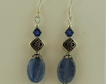 Celtic Knot earrings with Kyanite gemstones and Swarovski crystal beads
