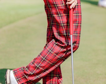 Red Tartan Golf Pants Trousers In Selected Sizes By Williams Golfwear