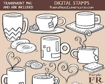 COFFEE AND TEA - Digital Stamp Set. 15 images, 300 dpi. jpeg, png, abr files. Instant download.