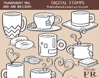 CAFÉ y té - conjunto de sello Digital. 15 imágenes, 300 dpi. JPEG, png, abr archivos. Descarga inmediata.