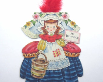 My Pretty Maid Vintage 1940s Greeting Card Land of Make Believe Doll No. 9 Card by Hallmark