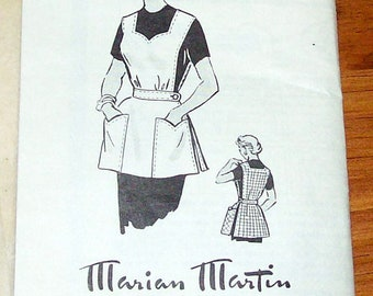 Marian Martin 1950s Mail Order Apron Pattern #9066 (Size 14 1/2)