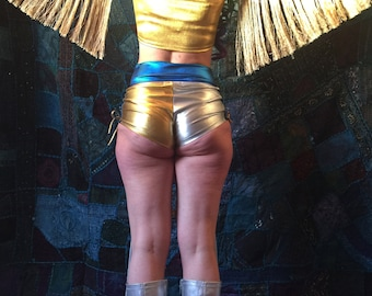 High waisted metallic spandex hotpants  - fairylove