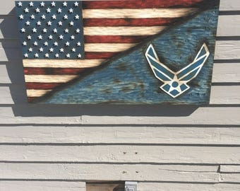 Split American flag and US Air Force