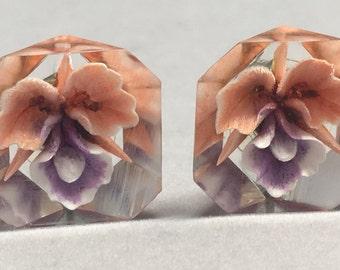 Vintage Orchid Earrings Screw Backs Clear Resin Flowers Pink Purple
