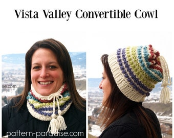Crochet Pattern Cowl Scarf Hat, Vista Valley PDF 16-A