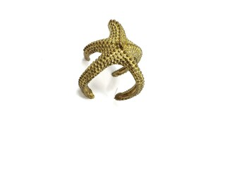 Starfish hug - a simple mermaid's textured raw brass ring