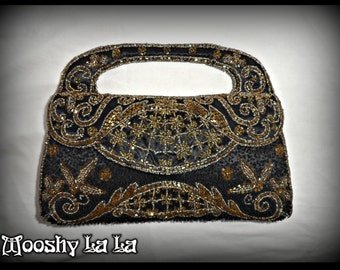 Vintage Deco French Satin Beaded Evening Purse Black/Gold Glass beads mid 20th Century