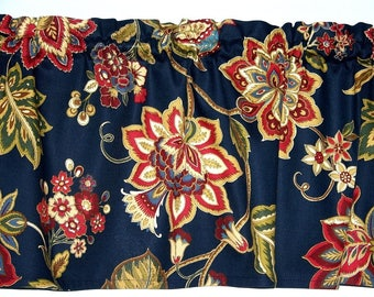 Navy Blue With Red Jacobean Paisley Print Valance Window Treatment Curtain