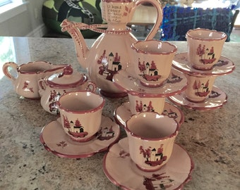 Extremely Rare Vintage Hand Painted Coffee Set Made in Italy with French Markings