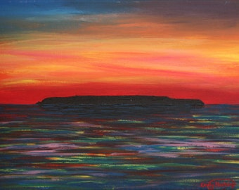 Original Painting, 'Sunset over Lundy Island' by Emily Hocking