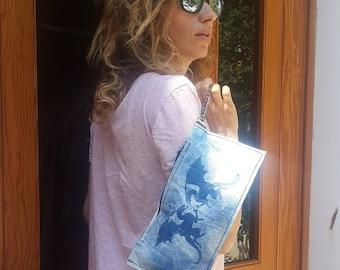 Blue Dragon print, trendy zippered clutch, one of a kind pouch, Hand painted, ecofriendly handbag, Womans handbag bag, urban chic accessory