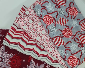 FINAL FRIDAY SALE - #4 Dark Red & Silver Bundle Celebrate The Season Christmas 4 Yard Bundle from Quilting Treasures - 4 Fabrics
