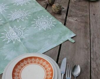 celadon green sun batik tea towel