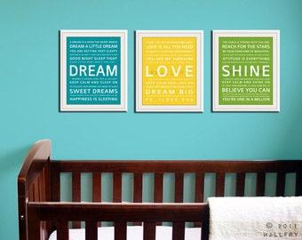 Children wall art. Baby nursery art print. Typography art for kids. Nursery wall quotes. SET OF ANY 3 prints, love dream playroom decor