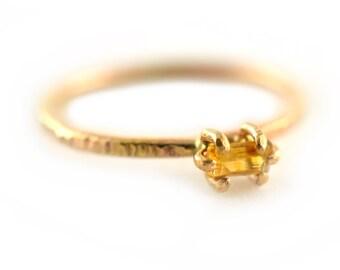 Citrine Ring, Baguette Gemstone Ring, Noember Birthstone Ring, Stackng Ring