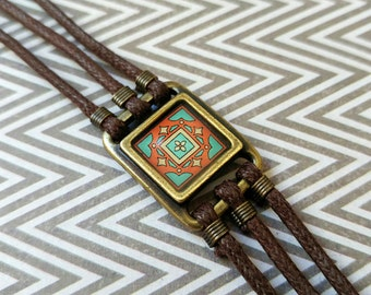 Spanish, Catalina Island Tile Corded Bracelet on Gold-Plated Brass and Brown Waxed Cotton Cord Wanderluster Gift