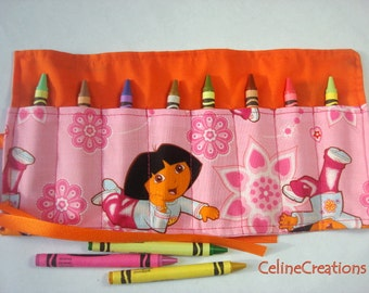 Crayon Roll Up Crayon Holder Dora The Explorer - Holds 8 Crayons