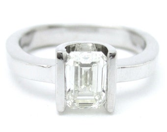 EMERALD cut solitaire semi tension diamond engagement ring