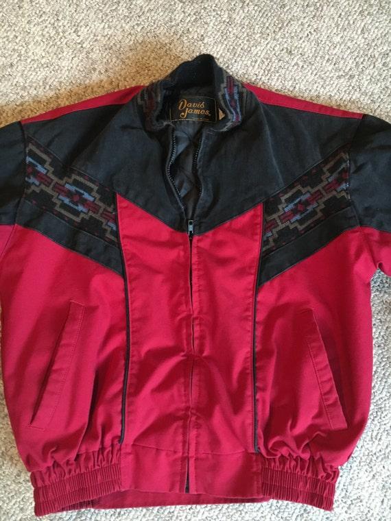 54dfc39e3b648c Vintage David James Red & Black Southwest Canvas Tribal Jacket