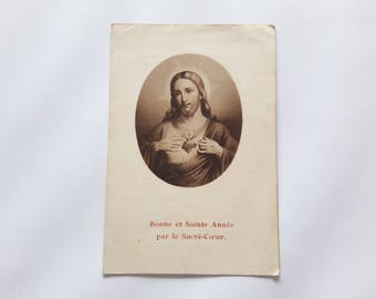 Antique Prayer Card - Holy Card - Sacred Heart of Jesus