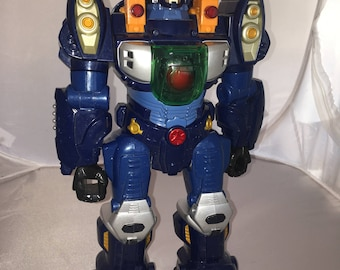 """Robot  - 12"""" Battery Operated Toy 2008 Happy Kid Toy Rare TOY - Works Great - Walks, Makes Noise and lights up!"""