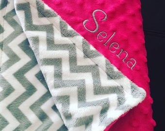 Chevron Minky Baby Blanket Custom Embroidered Shower Gift - Lots of Colors!