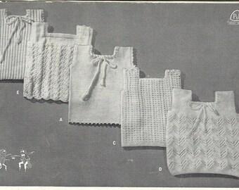 "PDF 5 Knit Baby Singlet Vest Pattern 3 ply yarn, 17"""