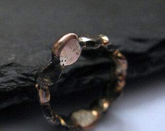 SALE Size 6 1/2 Unique Wedding Band Gold Black Ring Rose Gold Wedding Ring Organic Freeform Modern Promise Ring Unique Ring Artisan Pebble S