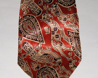 1930s-40s Fantasy Paisley  Pattern Necktie — Free Shipping!