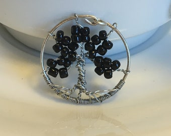small black tree of life pendant, silver