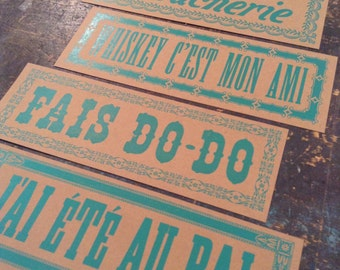 Captivating 4 CAJUN SIGNS In FRENCH Letterpress Prints Whiskey Print Dance Party Cajun  Kitchen Louisiana Art New
