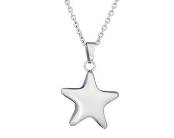 "Stainless Steel Puffed Star/Celestial Necklace, 18"" Chain"