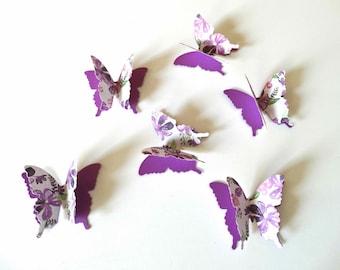 3D Paper Butterfly Confetti, butterfly wall decor, garden party decor, bridal shower butterflies, purple butterflies, layered butterflies