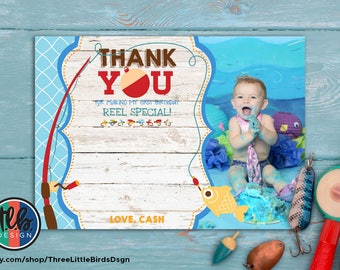 big ONE birthday thank you card with photo, fishing theme birthday, boy first birthday, 1st birthday, personalized card