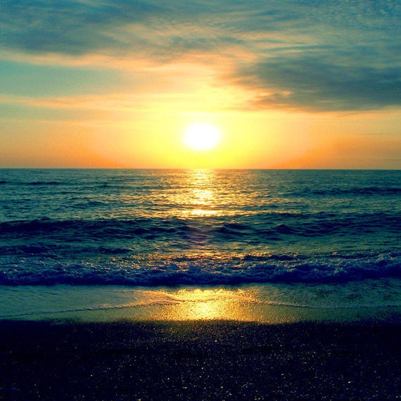 Beach Sunset Art Print Navy Blue Aqua Orange Sky Ocean