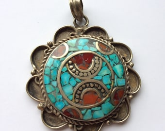 Nepalese pendant, solid brass and sterling silver