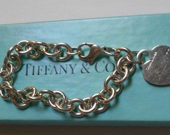 Vintage Tiffany & Co Sterling Silver Charm Bracelet with Heart Charm. Original Box.