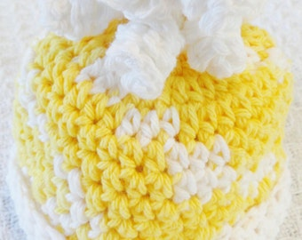 You Are My Sunshine Baby Newborn Beanie Curly Top Hat Yellow White Distinctly Daisy