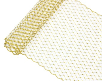 "1 Yard x 10"" Metallic Gold Russian Millinery Birdcage Veil Netting - Available in 19 Colors"