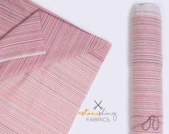Striped fabric. Pink stripe fabric. Multicolor multistripe linen-cotton fabric by half yard (50 cm).