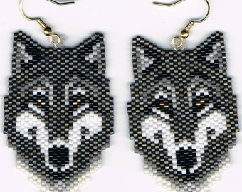 Hand Beaded  Large Grey wolf  earrings