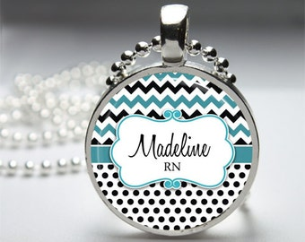 Personalized Nurse Pendant Chevron Blue Print - Round Pendant Necklace with Silver Ball or Snake Chain or Key Ring