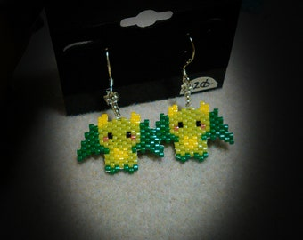 Green Dragon Beaded Earrings