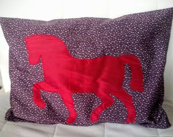 Cushion cover with horse applique