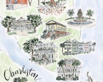 "Charleston, SC Illustrated Map Original Watercolor Printed Reproduction, 8""x10"""