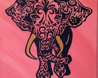 Henna Elephant hand painted